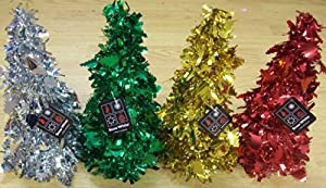 """Foil Tinsel Table Top Christmas Tree Decoration 10.5"""" - Red"""