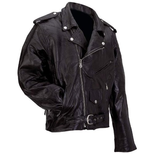 Diamond Plate Rock Design Genuine Buffalo Leather Motorcycle Jacket GFMOTXL