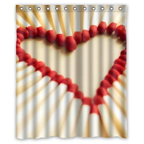 Custom Unique Design Red Heart Love Waterproof Fabric Shower Curtain, 72 By 60-Inch front-413230