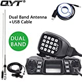 QYT KT-980 PLUS 75W(VHF)/55W(UHF) Dual Band Quad Standby Base, Mobile Radio Amateur Transceiver Car Radio (HAM) with Cable & CD + High Power Dual Band Antenna + Car Clip RB-400 + 5m Cable