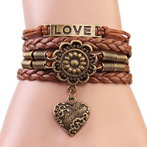 Red Dandelion Bronze Love Sunflower Heart-shape Unisex Exquisite Handmade Rare Bracelet (Presto Pen compare prices)
