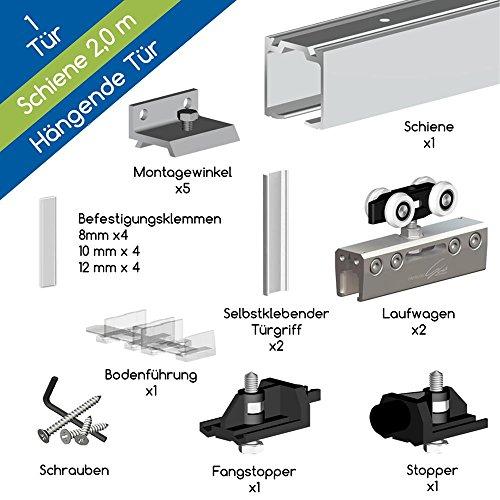 Wimove Schiebetür-System HERKULES GLASS für Glas-Schiebetüren, Schiene 2,00 m, Hängende Schiebetür