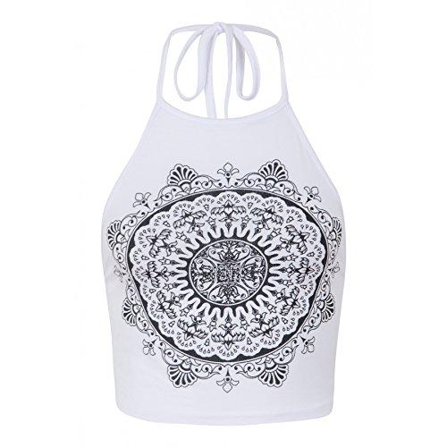 Ladies Girls Celeb Kendall Inspired Mandala Print Halter Neck Crop Top UK Size 8-14 (S/M (UK 8-10))