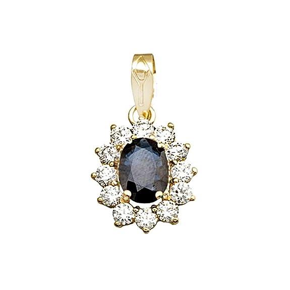 18k gold pendant 8x6mm oval sapphire center stone. zircons [AA4808]