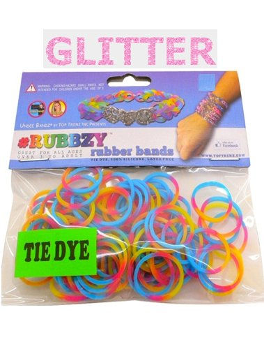 Rubbzy 100 pc Special Edition Tie Dye/Glitter Rubber Bands (#968) - 1