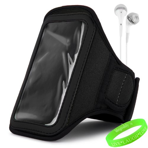 Vangoddy Active Bundle - Neoprene Sweat-Proof Armband Pouch W/ Key & Id Card Holder Fits Samsung Galaxy S4 Android Smartphone // Jet Dark Black \\ + White Earphone Buds W/ Microphone