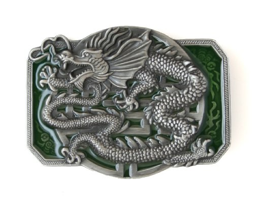 Pewter Belt Buckle - Oriental Dragon - Pewter Belt Buckle