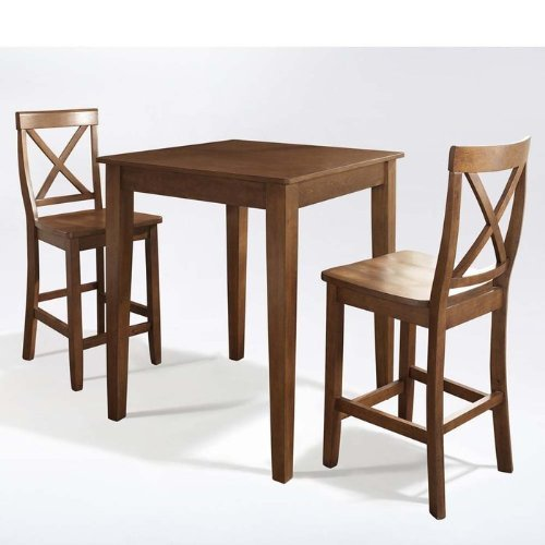 Crosley Furniture KD320005BK 3 Piece Pub Dining Set with Tapered Leg and X-Back Stools in Black Finish