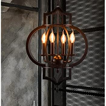 TYDXSD American vintage restaurant bar hotel chandelier light corridor the corridor by black wrought iron candle chandelier ring lights 430*800mm