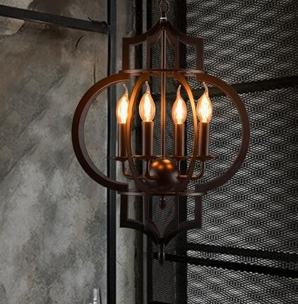 TYDXSD American vintage restaurant bar hotel chandelier light corridor the corridor by black wrought iron candle chandelier ring lights 430*800mm 2