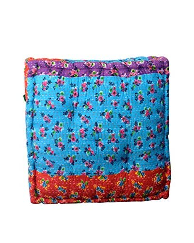 Large Cent Floral Print Floor Cushion, Blue Multi