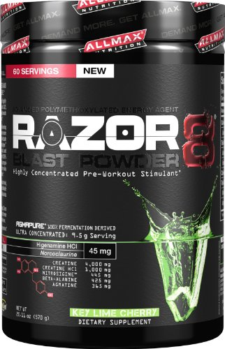 Allmax Nutrition NEW 2014 Razor8 Pre-workout (DMAA FREE) 60 Servings (Key Lime...