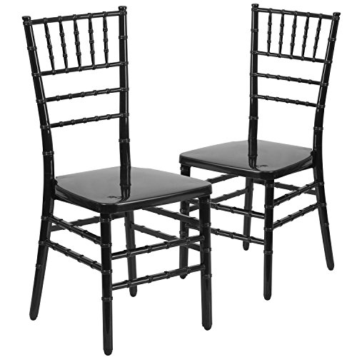Flash Furniture Hercules Indestructo Series Resin Stacking Chiavari Chair (2 Pack), Black (Resin Outdoor Stacking Chairs compare prices)