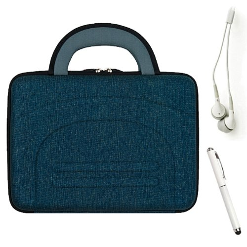 Hard Nylon Cube Carrying Case With Handles (Denim) For Dell Venue 8 Pro Bell8-Pro81 Bell8-1818Blk + Hd Earbuds (3.5Mm Jack) + Stylus + Hand Strap