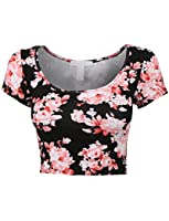 RubyK Womens Fitted Short Sleeve Floral Print Crop Top with Stretch