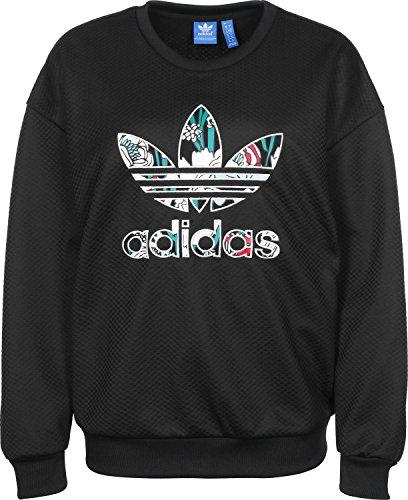 Felpa Adidas-Trefoil, Donna, Trefoil, Black, 42