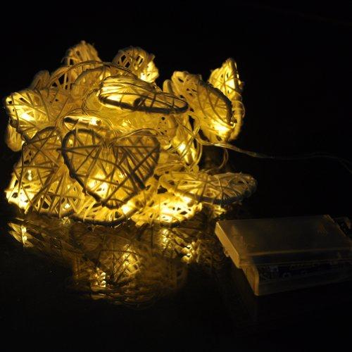 20 Led Heart Set Rattan Ball String Lights Fairy Party Decor Wedding Bedroom Garden Spa Holiday Lighting (White)