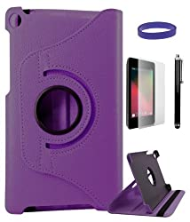 DMG Full 360 Rotating Stand Cover Case for ASUS Google Nexus 7 2013 Edition with Matte Screen Protector, Stylus and DMG Wristband (Purple)