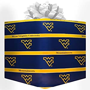 Buy NCAA West Virginia Mountaineers Logo Gift Wrap Paper - Navy Blue by Football Fanatics