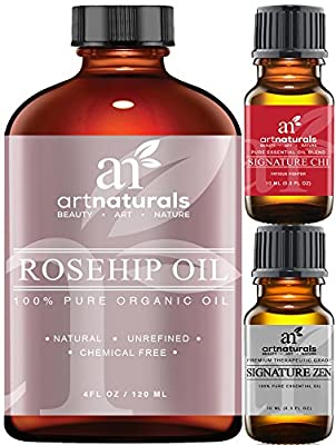 Art Naturals Rosehip Seed Oil 3 Piece Set - 100% Certified Organic - Pure Virgin, Cold Pressed & Unrefined 4oz - Best Natural moisturizer to heal Dry Skin, Fine Lines & Scars