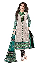 Priyanka Women's Cotton Unstitched Dress Material (Beige)