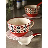 Handpainted Red Soup Bowl With Spoon (Set Of 2)