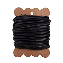 PandaHall Elite 1 Roll 3 mm Cowhide Round Leather Cords For Bracelet Neckacle Beading Jewelry Making 10 meter / 11 Yard Black