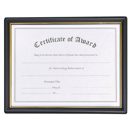 "8.5"" X 11"" Ez Mount Pre-Framed Award Certificate Frame 18 Pack, Black/Gold front-520695"