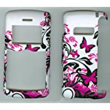 White Purple Butterfly Lg Vx-9200, Env 3, Ellipse Lg9250 Snap on Hard Case Shell Cover Protector Faceplate Rubberized Wireless Cell Phone Accessory