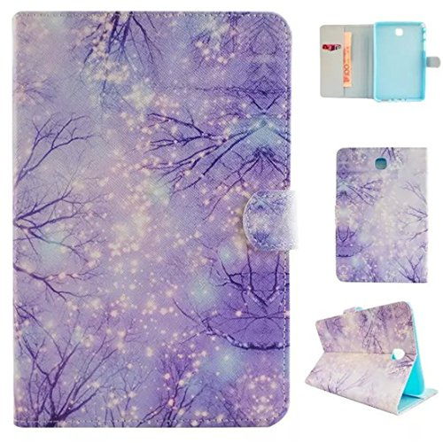 Galaxy Tab 3 7.0 Case,T210 Case,Enjoy Sunlight [Slim Fit] Folio Leather Stand [Wallet] Shell Cover with Card Holder Compatible for Samsung Galaxy Tab 3 7.0 SM-T210 / SM-T211 [Purple Tree]