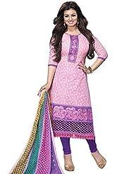DivyaEmporio Women's Cotton Resham Salwar Suit Dupatta Unstitched Dress Material (Pink_Free Size)