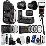 Nikon D3300 D3200 D3100 Everything You Need Accessory Kit - Includes: Altura Photo Universal Speedlite Flash + 52mm Altura Photo 0.35x Wide Angle Fisheye Lens w Macro + 52mm Altura Photo 0.43x Pro HD Wide Angle Lens w Macro + DSLR Sling Camera Backpack + Battery Grip + EN-EL14 Battery + Travel Charger + Pro DSLR Camera Monopod + Close-Up Filter Set (+1 - +2 - +4 - +10) + Filter Kit (UV-CPL-ND4) + Collapsible Rubber Lens Hood + Softbox Flash Diffuser + Wireless Remote Control +Cleaning Kit + MagicFiber Microfiber Cleaning Cloth