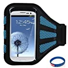 Premium Sport Armband Case for ZTE Savvy/Awe/ Avail 2/ Overture/ Imperial/ Director/ Engage LT/ Engage/ Render/ Concord/ Fury/ Score - Black (with Blue Mess Ports)+ Star Strips Silicon Wristband