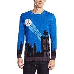 Blizzard Bay Men's Cityscape Light Up Ugly Christmas Sweater, Blue/Black