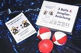: 3 Bälle & Jonglier-Anleitung (rot-weiß, rot, rot-weiß): Jonglieren lernen mit Erfolgsgarantie