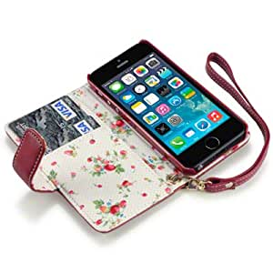 IPHONE 5 PREMIUM PU LEATHER WALLET CASE WITH FLORAL INTERIOR - RED