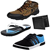 Bersache Men Combo Pack Of 4 Sports Shoe With Casual Shoes,Slipper & Wallet