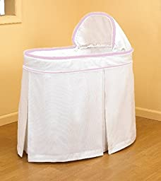 Babydoll Bedding Forever Mine Neutral Classic Tailored look Bassinet Liner Skirt and Hood for boy and girly-White Pique and Pink Ribbon Detail