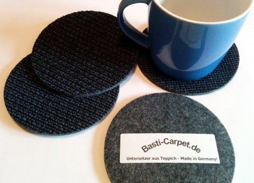 Untersetzer aus Teppich Filz rund Textilrücken 4-er Set für Gläser, Tassen oder Vasen schwarz-blau 12 cm