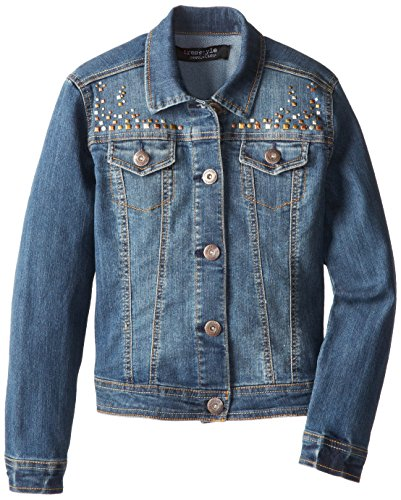 Freestyle Revolution Big Girls' Studded Denim Jacket, Vintage Liberty Indigo, Large/10/12 front-193388