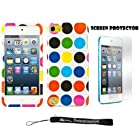 Colorful Circles 2 piece Cover Shield Protector Case For Apple iPod Touch 5 ( 5th Generation) 32GB, 64GB + Anti Glare Screen Protector Guard + an eBigValue TM Determination Hand Strap