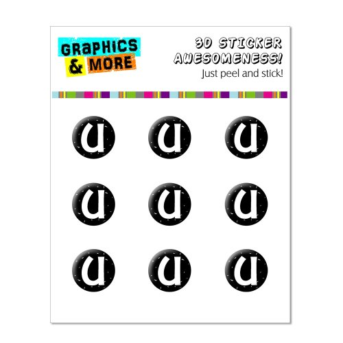 Graphics and More Letter U Initial Black And White Home Button Stickers Fits Apple iPhone 4/4S/5/5C/5S, iPad, iPod Touch - Non-Retail Packaging - Clear