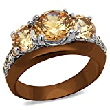 Light Brown IP Stainless Steel 4.45 Ct Round Cut Champagne CZ Engagement Ring Size 7