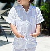 Boy's cuban guayabera short sleeve in white.
