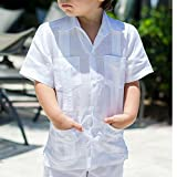Boy's cuban guayabera short sleeve in white.