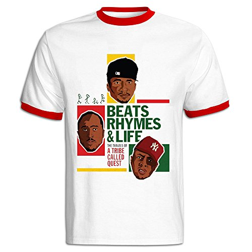 TIKE Men's The Travel Of A Tribe Called Quest Short Sleeve Ringer T Shirts Color Red Size XXL (A Tribe Called Quest Box Set compare prices)