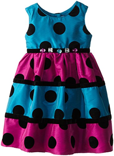 Youngland Little Girls' Tiered Dot Colorblock Occasion Dress, Teal/Multi, 2T