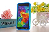 Nancy's Shop S5 case, TPU 2pc Layered Hard Case Cover Rubber Bumper for Samsung Galaxy S5 Sv (Teal Blue)