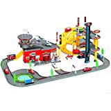 WolVol Kids Rescue Center Garage Playset Station with 8 Die Cast Metal Cars included