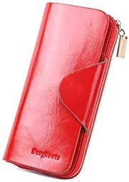 Borgasets Women\'s Organizer Wallet Genuine Leather Large Trifold Zipper Purse Red